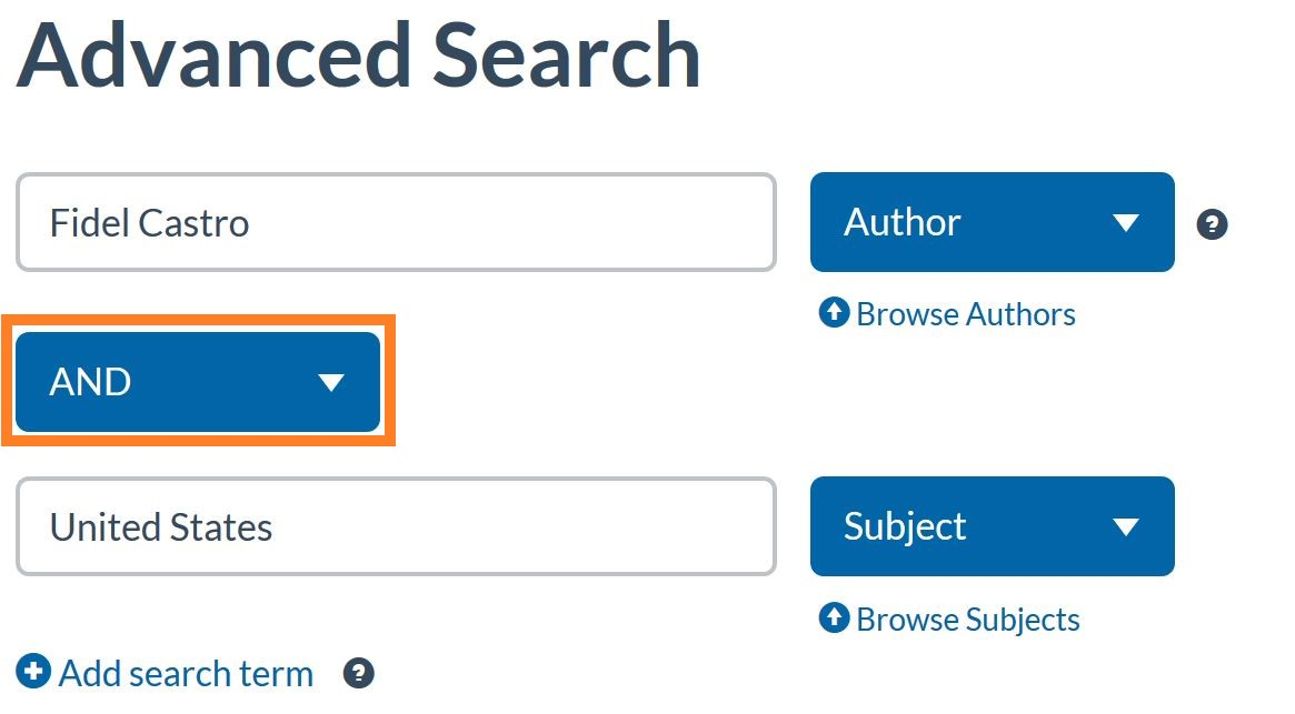 A search example for author and subject